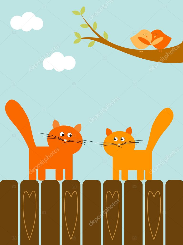 Cats and birds in love — Stock Vector #1035100