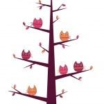 albero di gufi — Vettoriale Stock