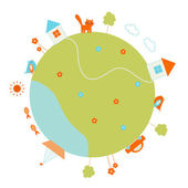 Round globe with houses, trees, clouds, car, boat, fish, cat, etc. — Vector de stock