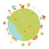 Globe rond avec maisons, arbres, nuages, voiture, bateau, poisson, chat, etc. — Vecteur
