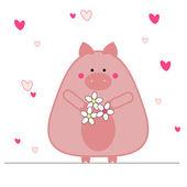 Pig in love — Stock Vector