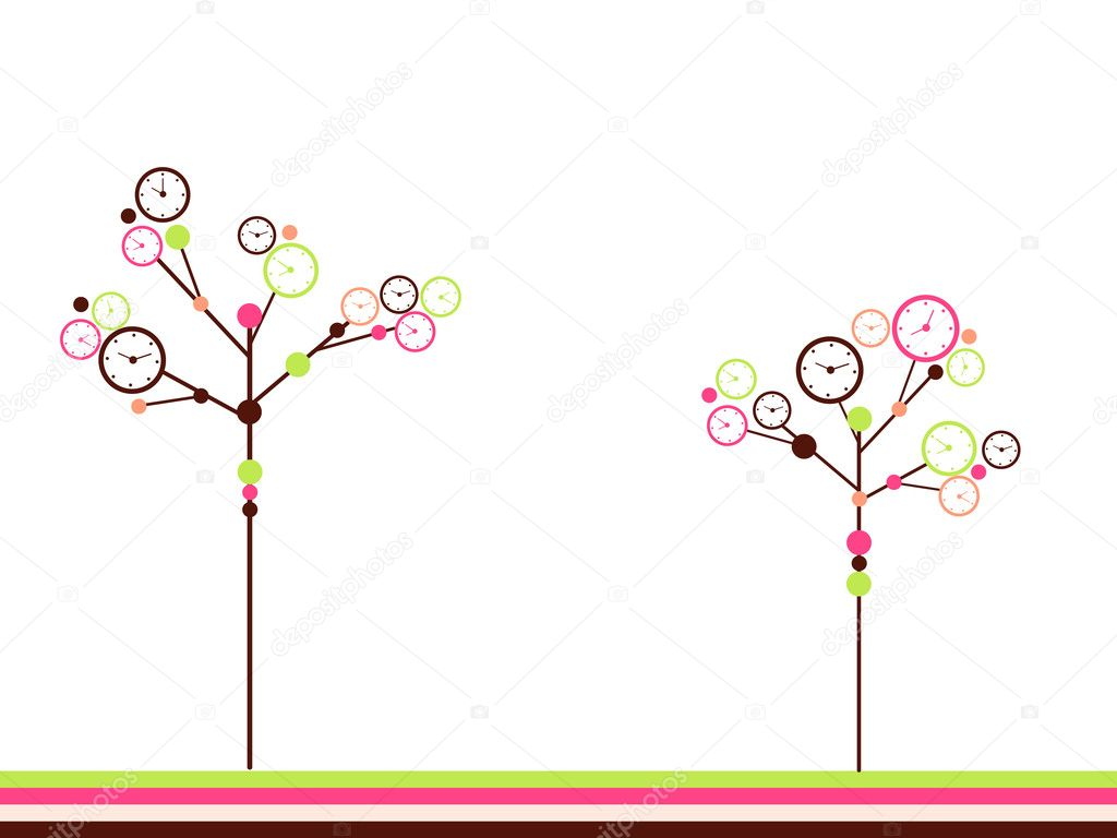 Surreal clock trees. — Stock Vector #1093640