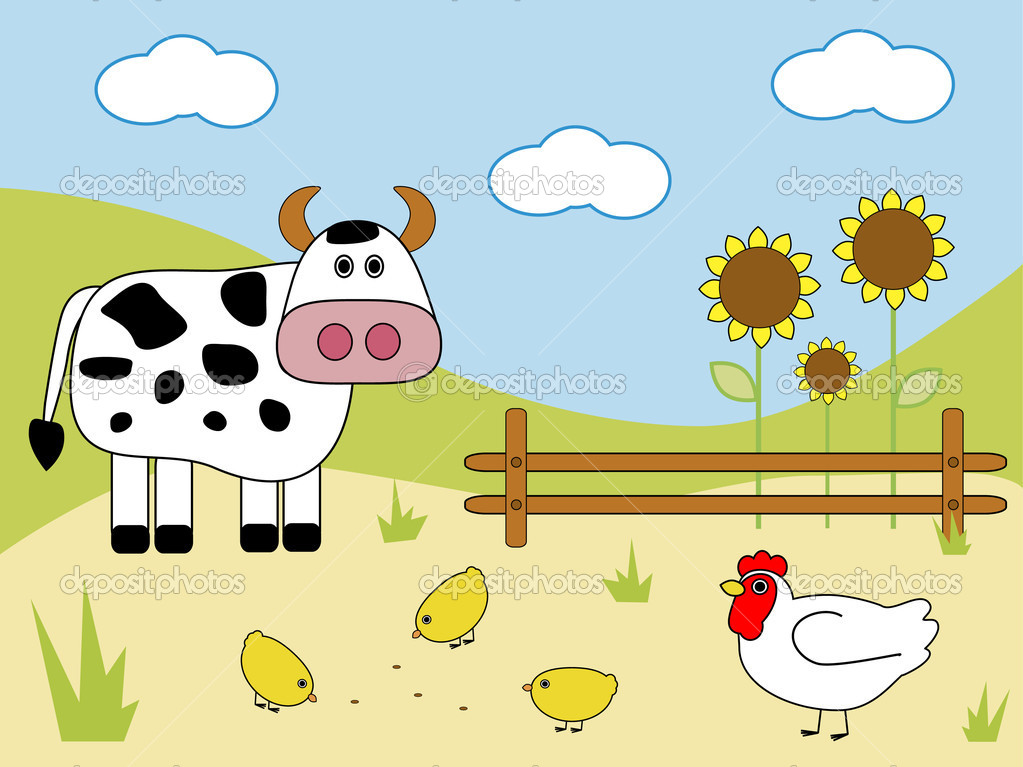 Cow and chicken on the farm  Stock Vector #1093774