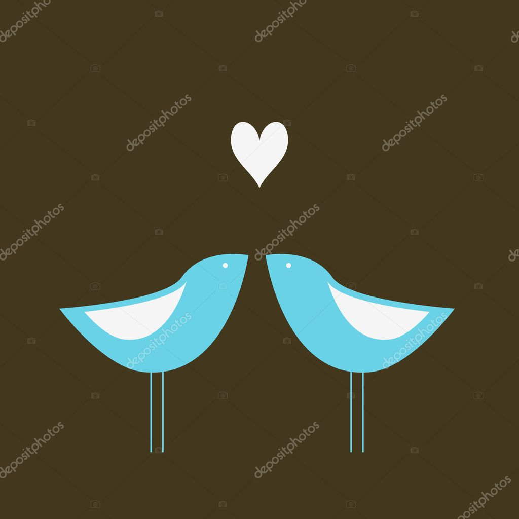 Two cute birds in love. — Image vectorielle #1093984