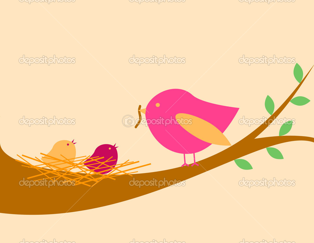 Cute bird feeding its babies — Stock Vector #1093996