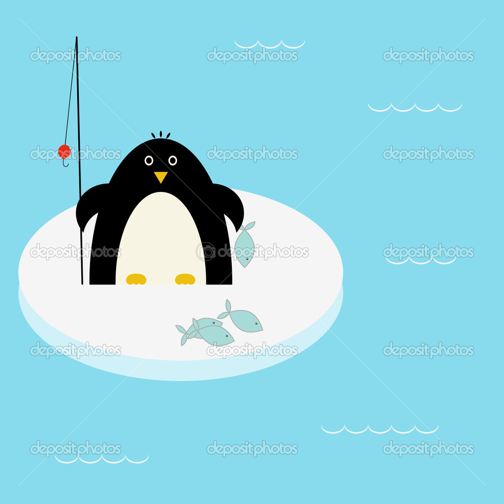 Penguin fishing stock vector svinka 1094028 for Penguin and fish