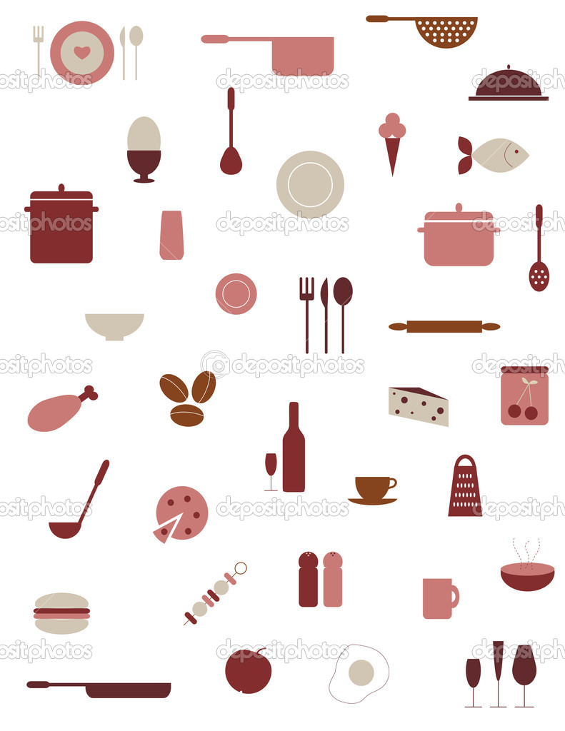 Various kitchenware and food icons isolated on white.  Stock Vector #1261929