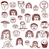 Faces doodles — Stock Vector