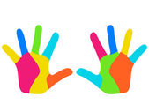 Colorful kids hands — Stock Vector