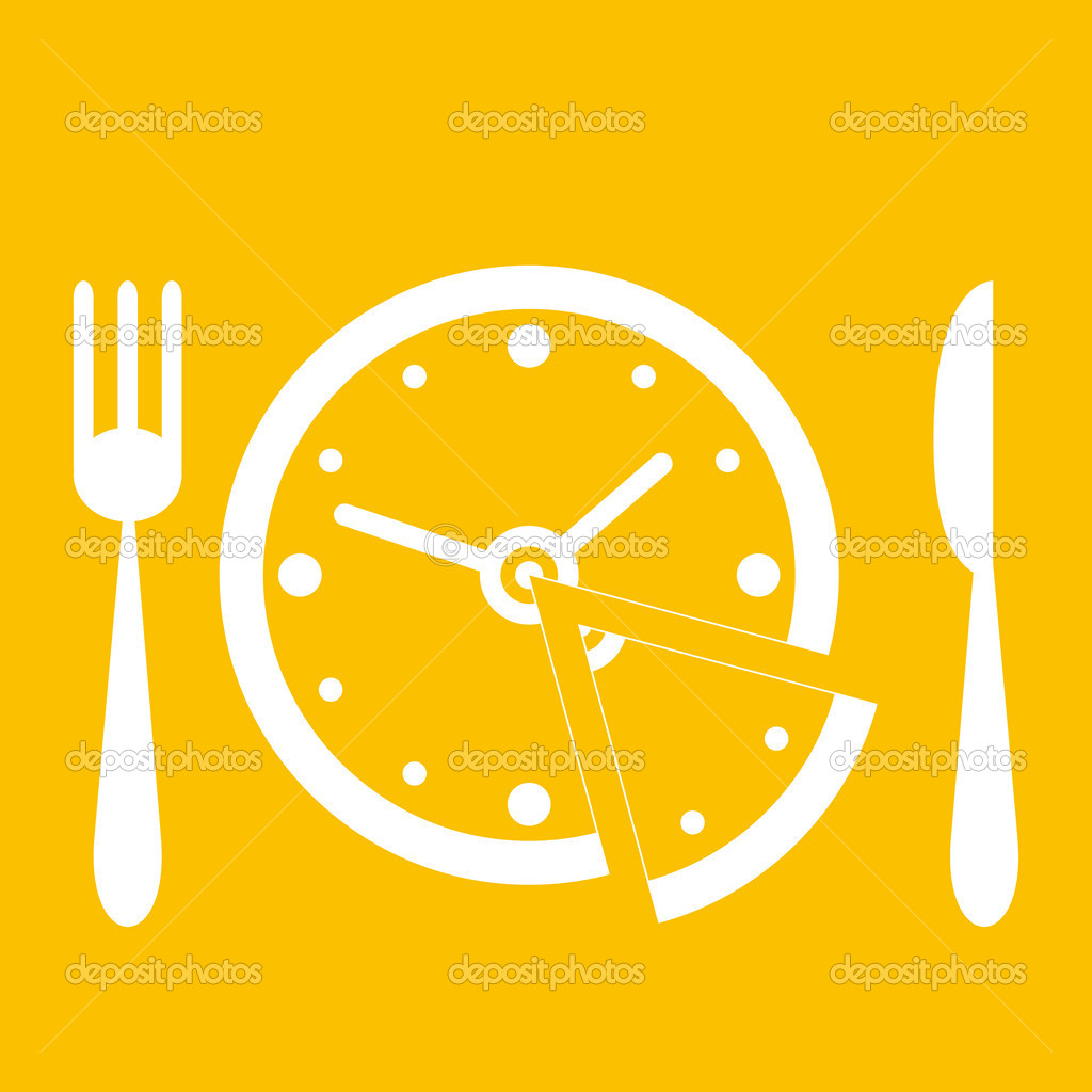 Can be used as an illustration of time concepts, lunch time, smart eating, a diet, etc. — Stock Vector #2539246