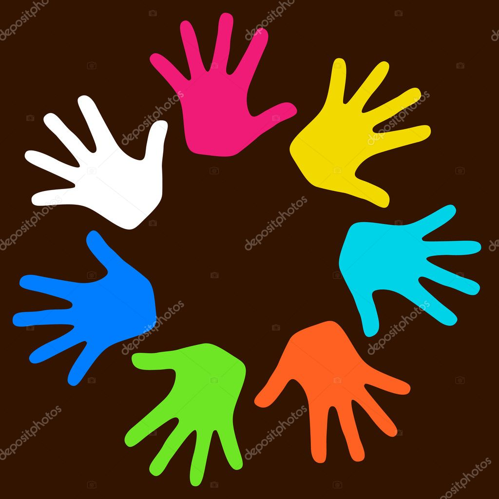 Colorful kids hands on dark background — Stock Vector #2539250