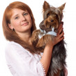 Woman holding terrier — Stock Photo