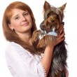 Royalty-Free Stock Photo: Woman holding terrier