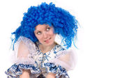 Woman wearing Blue wig — Stock Photo
