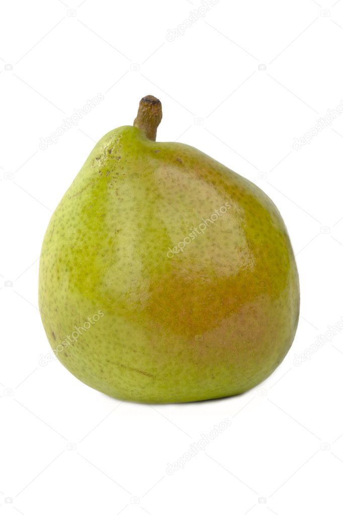 Green spotted pear with stem isolated  on white — Stock Photo #1031279