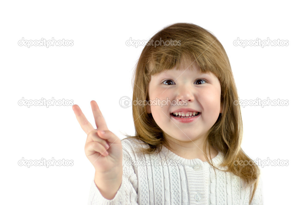 Little girl with Wild eyes showing victory sign isolated on white — Stock Photo #1031911