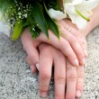 Hands of new married — Stock fotografie