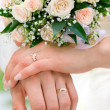 Stock Photo: Hands of new married