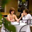 date in cafe — Stock Photo