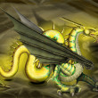 Illustration Golden Dragon — Stock Photo