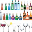 Different bottles, cups and glasses — Imagen vectorial