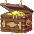 Chest with treasures — Stock Vector
