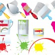 Stock Vector: Paint and tools