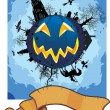 Stock Vector: Grim halloween card
