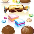 Stock Vector: Assorted chocolates candy.