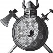 Royalty-Free Stock Imagen vectorial: Helmet, sword, axe