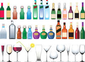 Different bottles, cups and glasses — Stock Vector