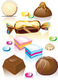 Assorted chocolates candy. — Stock Vector