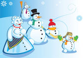 Snowman family — Stock Vector