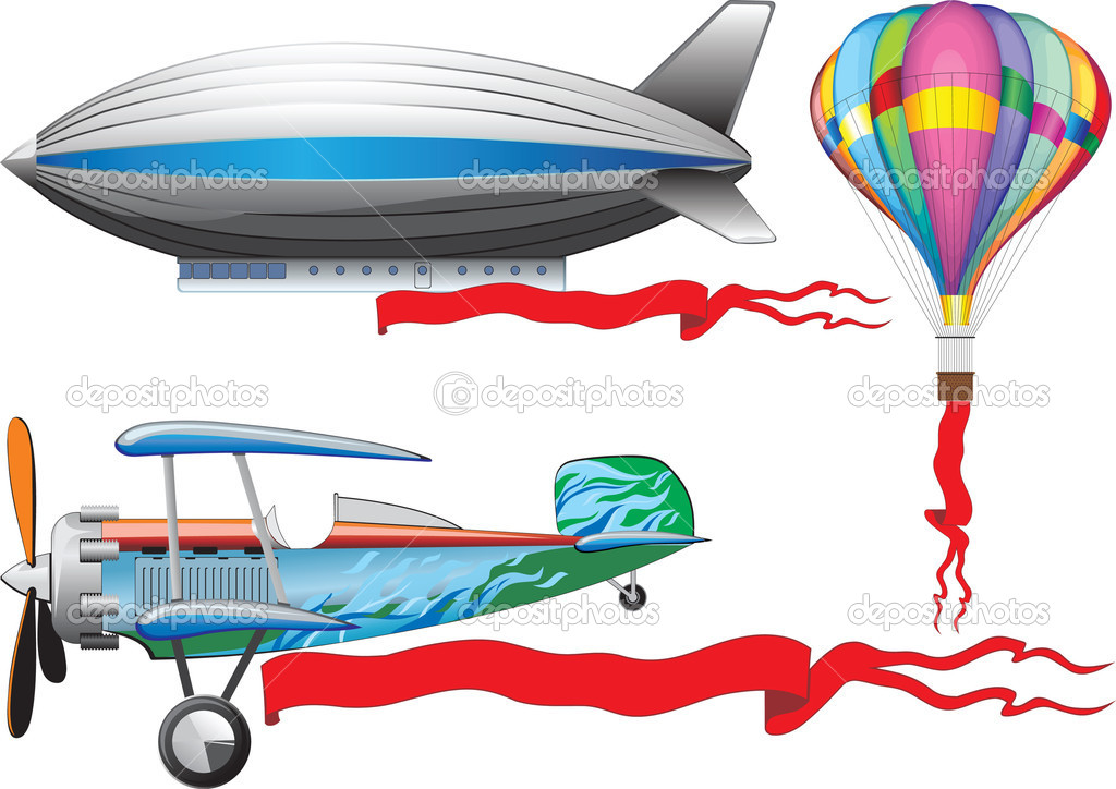 An old airplane, a balloon and airship — Stock Vector #1030324