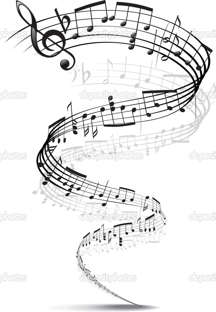 Music notes twisted into a spiral — Stock Vector #1034376