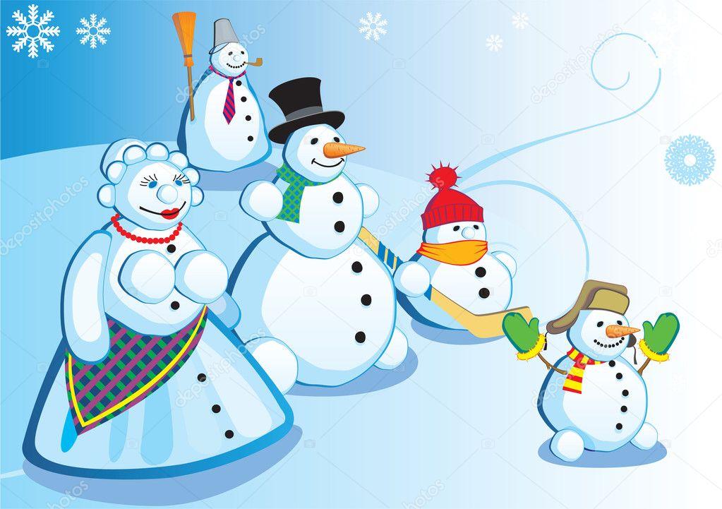 雪人家庭 — 图库矢量图像08