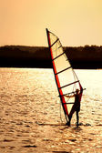 Sunset windsurfing — Stock Photo