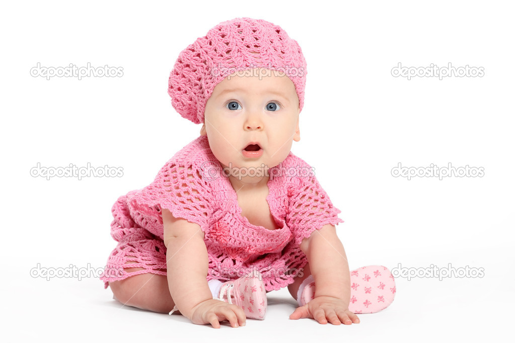 The small child plays the designer a white background — Stock Photo #1118573