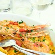 Pasta and seafood — Stock Photo