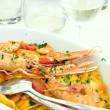 Stock Photo: Pasta and seafood