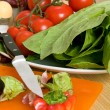 Stock Photo: Tomatoes and lettuce