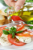 Caprese Salad with oil — Stock Photo