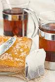 Tea bread and jam — Stock Photo