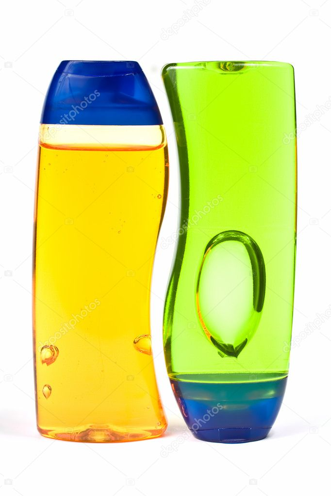 Two Shampoo Bottles Isolated On white Background — Foto Stock #2387409