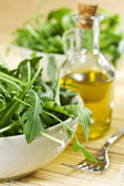 Rucola Salad And Oil — Stock Photo