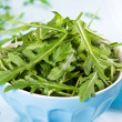 Green Salad on Blue - Stock Photo