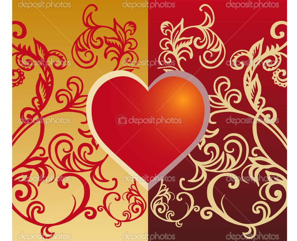 Valentine card with floral decoration and heart, vector illustration — Stock Vector #1089205