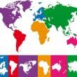 renkli Dünya Haritası — Stok Vektör