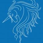 Head of beautiful unicorn on blue background — Stock Vector #1111232