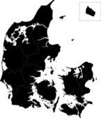 Mappa della suddivisione amministrativa della danimarca — Vettoriale Stock